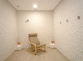 Fully functional Halomed salt room showroom with genuine salt coating
